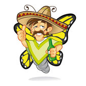 Cartoon sombrero drunken butterfly who was drunk and thumbs-up sign with a smile and holding a bottle of liquor