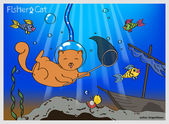 Funny illustration of a cat-diver is fishing with a net in the ocean
