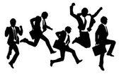 Siluety šťastný skok a běh podnikatelé