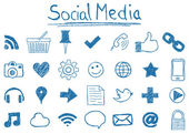 Illustration of Social Media Icons hand-drawn style