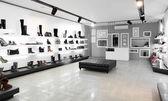 Luxusní obchod s obuví s světlém interiéru