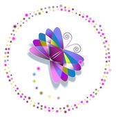 Kötet dekoratív pillangó elhelyezett kör fény buborékok