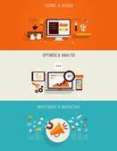 Set of flat Icons for web design seo digital marketing and investments
