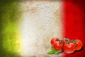Italian flag with tomatoes