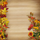 Border and a bouquet of autumn Listeva berries on wooden background