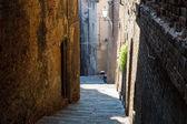 Enge Gasse mit alten Gebäuden in der mittelalterlichen Stadt Siena, tusca
