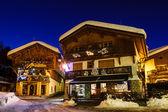 Illuminated Street of Megeve on Christmas Night, French Alps, Fr