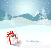 Merry Christmas Landscape vector with white snow