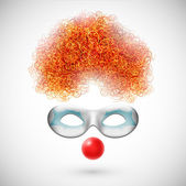 Accessories clown (wig mask and red nose) Eps 10