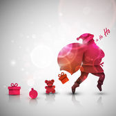 Santa Claus with gifts Christmas background eps 10
