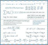 Mathematische Symbole, Zahlen und Buchstaben - Handschrift