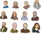 Vector illustration of famous world scientists