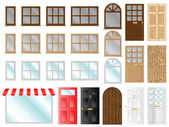 Different style doors and windows vector illustration