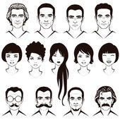Eye mustache lips and hair face parts head character of man and woman