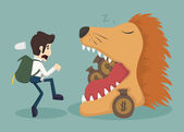 Businessman steal money from lion  eps10 vector format