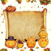 Halloween pozadí posouvat znamení s listy a vyřezal oranžová