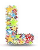 Letter L, from bright colored holiday stars staked