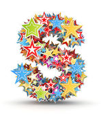 Letter S, from bright colored holiday stars staked