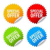 Vector special offer labels set isolated on white
