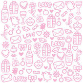 Seamless pattern with colorful valentines day icons