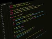 Kód, css skriptů v textovém editoru