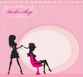Vektorové ilustrace krásné ženy v kadeřnický salo