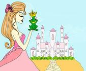 Szép fiatal hercegnő csók egy nagy béka