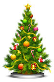 Vector illustration of decorated Christmas tree against white