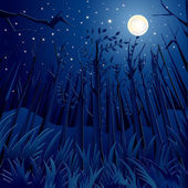 Vector illustration of dense jungle in full moon night