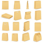 Vector illustration of collection of brown paper bag