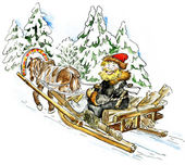 Happy man in a horse sleigh carrying firewood