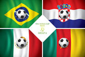 Brazil 2014 group A Vector flag with shadow FIFA word cup