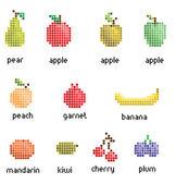 Vector pixel fruit collection retro eps 10