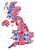Great Britain map in the form of traditional English symbols