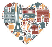 Traditional symbols of France in the form of heart