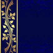 Luxury dark blue Background with golden border is presented