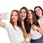 Постер, плакат: Group of girlfriends taking selfie
