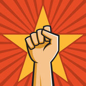 Vector Illustration of a fist held high in the style of Russian Constructivist propaganda posters