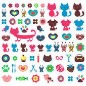 Cute colorful various childish elements for design set