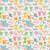 Cute childish seamless pattern with baby animals