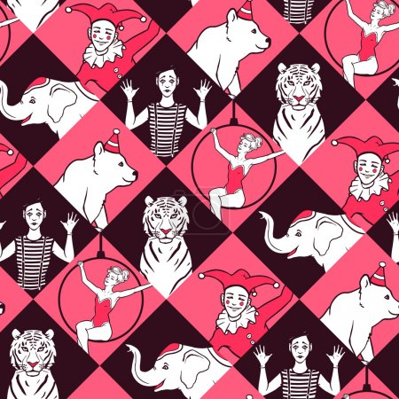 Постер, плакат: Seamless pattern with circus performers, холст на подрамнике