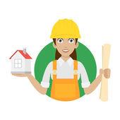 építő nő tartja a ház és a terv