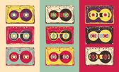 Set of retro audio cassettes pop art style Vector image