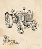 Tractor vintage element for design hand drawing vector