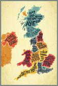 Vektor Velká Británie typografie akcenty mapy