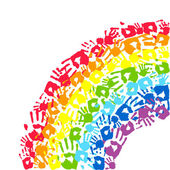 Rainbow made from hands Abstract vector background