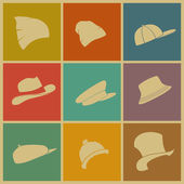 Vector set of colored hats icons top