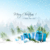 Christmas winter landscape with blue gift boxes in sno