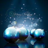Modern Christmas greeting card with balls and gifts