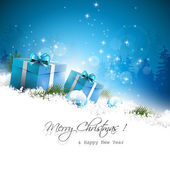 Christmas blue greeting card with gift boxes and branches in sno